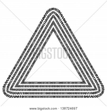 Binary Code Triangle. Numbers Concept. Algorithm, Data Code, Decryption and Encoding