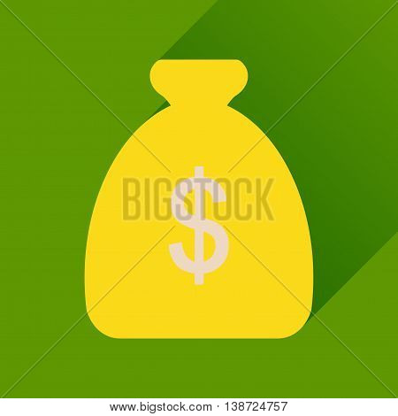 Flat icon with long  shadow money bag