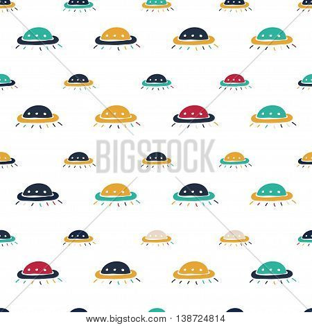 Ufo hand drawn cartoon seamless pattern. Vector color doodle pattern for textile paper book cover polygraphy game web design