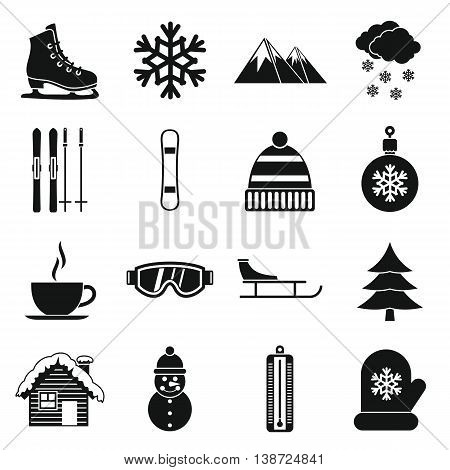Winter icons set in simple style. December set collection isolated vector illustration