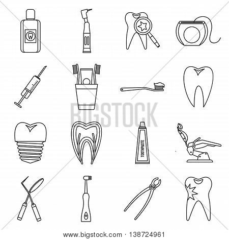 Dental care icons set in outline style. Stomatology set collection isolated vector illustration