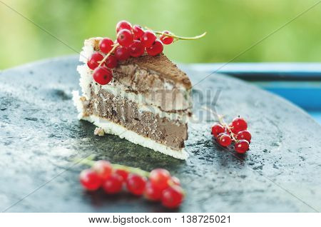 Close-up view of a slice of ice cream tiramisu cake with cranberries on grungy metal plate.