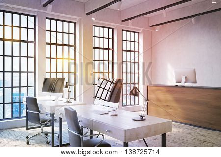 Modern office interior with two workplaces wooden reception desk and windows with city view. Toned image 3D Rendering