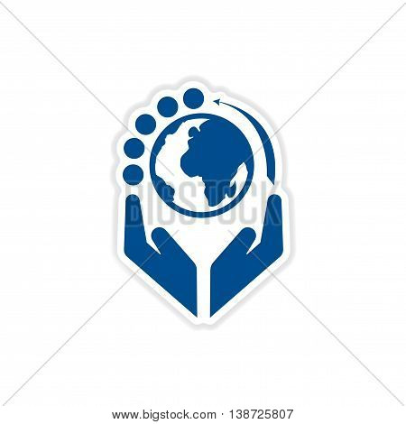 paper sticker on white  background Money in hand earth
