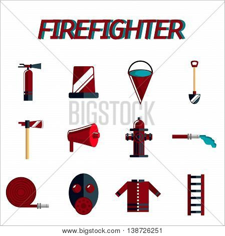 Firefighter icon set. Flat design. Vector illustration, EPS 10