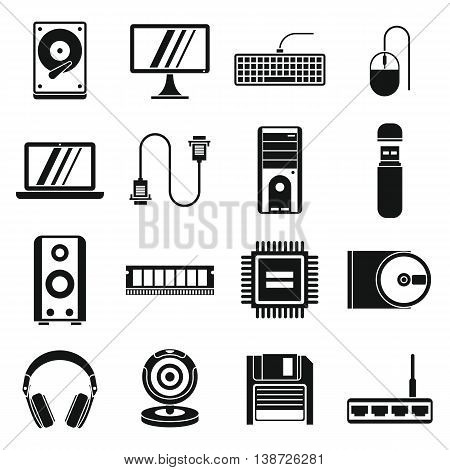 Computer icons set in simple style. PC set collection isolated vector illustration