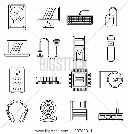Computer icons set in outline style. PC set collection isolated vector illustration