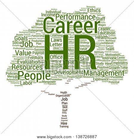 Vector concept conceptual hr or human resources management tree word cloud isolated on background, metaphor to workplace, development, career, success, hiring, competence, goal, corporate or job