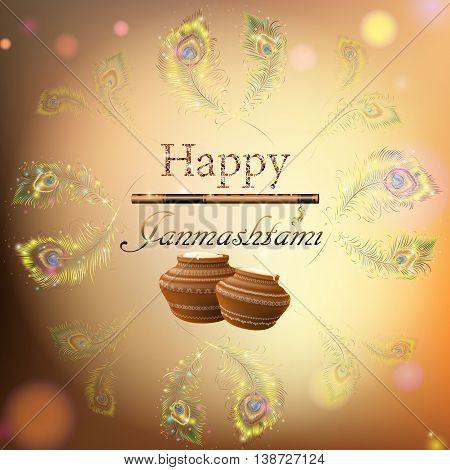 Vector Illustration Festival Of Happy Krishna Janmashtami