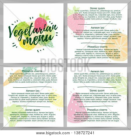 Template design menus, brochures, flyers Vegetarian menu. Logo, icon vegetarian, healthy menu with the decor of a green, farm food. Symbol menu with berry, fruit and herb. Modern style. Vector
