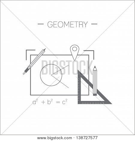 Geometry icon. Drawing and devices for drawing. Flat design minimalistic vector illustration isolated on white background.