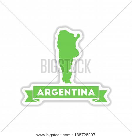 paper sticker on white  background map of Argentina