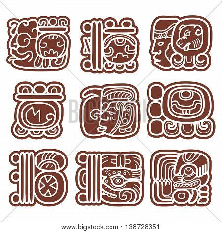 Mayan glyphs, writing system and languge vector design