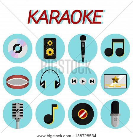 Karaoke flat icons set with microphones and other things isolated vector illustration