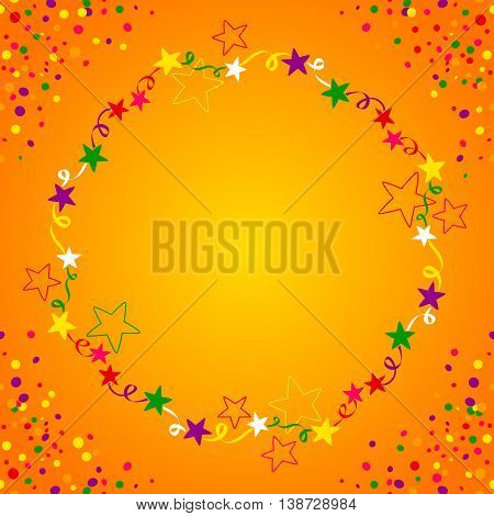 Colorful star circle with space in the middle for text. Background for parties in general