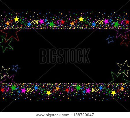 Dark background with colored stars and confetti up and down with space for text in the middle