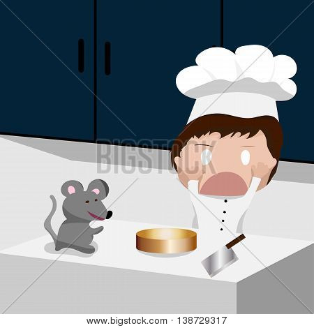 Chef in Chef's hat with cared face when rat appeared on the counter. Vector illustration. EPS10