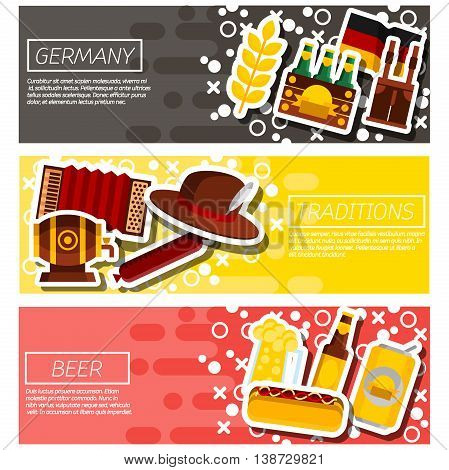 Germany panorama scenery banners concept. Vector illustration, EPS 10
