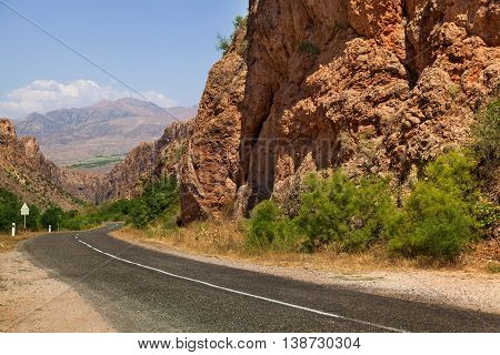 The Asphalt Road In The Mountains Of Armenia