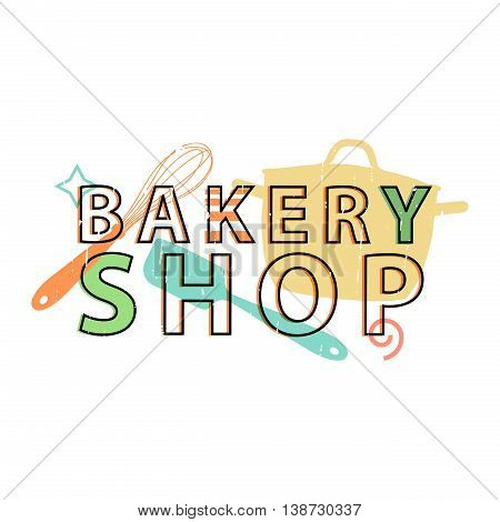 Logo, icon, stamp, emblem bakery shop. Logo bakery in retro style with the decor silhouettes of the kitchen tools and kitchen and tableware. The sign for corporate identity. Vector illustration