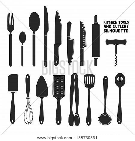 Set of silhouettes cutlery. Spoon, fork, blender, knives. Cutlery for cooking. A set of cutlery for serving. Black and white kitchen cutlery silhouettes. Vector illustration
