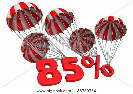 Eighty five percent is falling down on parachutes. Isolated. 3D Illustration