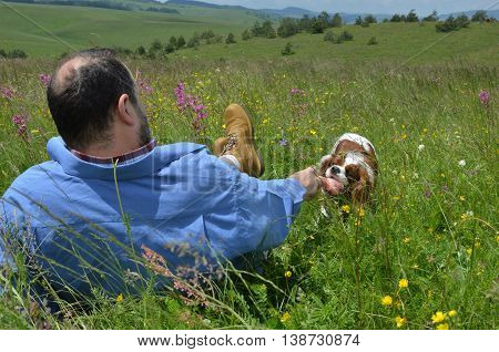 Man and his dog are playing on mountain meadow with toy for dogs