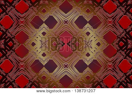 abstract decorative pattern in the form of a lattice of gold color on a red background