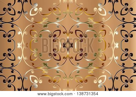 openwork pattern embossed vintage. Decoration under the wallpaper light brown tone