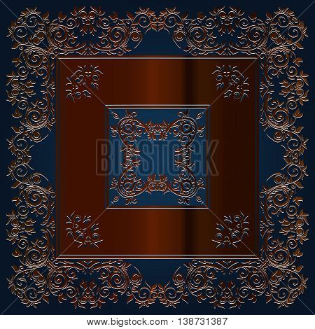 abstract vintage decor for furniture in the form of a square decorated with embossed floral pattern elements