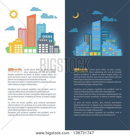 Silhouettes of buildings. Urban cityscape. Vector illustration.