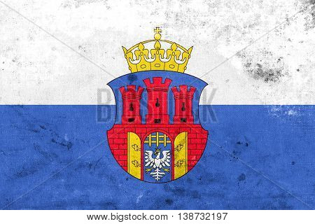 Flag Of Krakow With Coat Of Arms, Poland, With A Vintage And Old