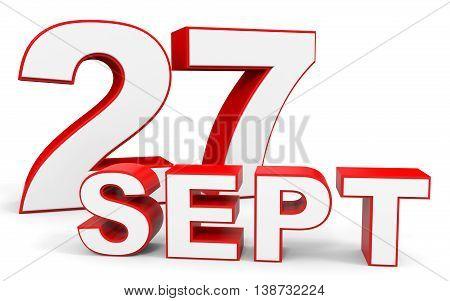 September 27. 3D Text On White Background.
