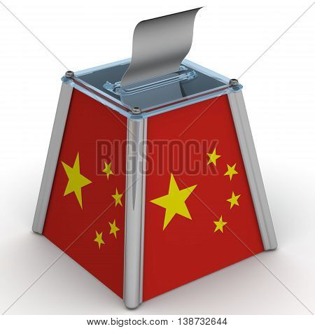 Ballot box to vote with the flag of Chinese People's Republic and ballot sheet is on the white surface. Isolated. 3D Illustration