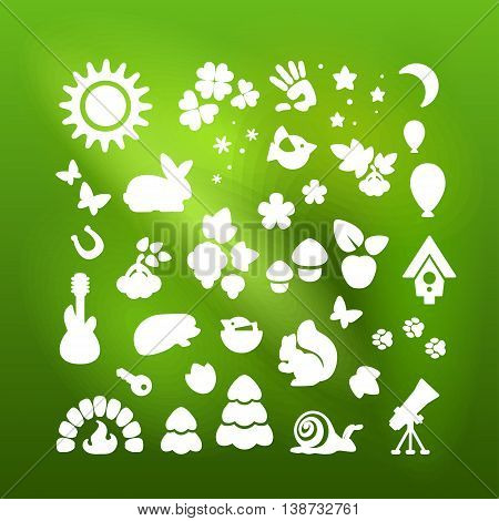 Set of icons - nature recreation ecology. Vector.
