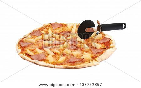 Whole hawaiian pizza sliced with a blade cutter, composition isolated the white background