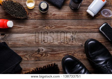 Brushes, wax, shoes and accessories. Shoes care. Top view