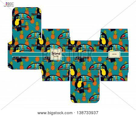 Template pattern decorative gift box with tropical toucan. Vector design Die-stamping. Diy pack boho style. Stencil printing cutting bonbonniere. Die cutting vector layout