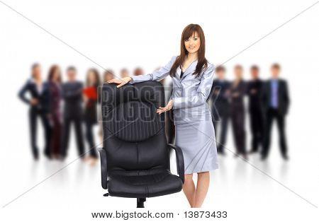 zeitgenössische Bürostuhl und geschäftsfrau