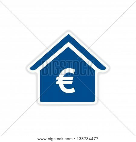 paper sticker icon on white background bank
