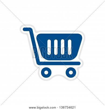 paper sticker icon on white background cart