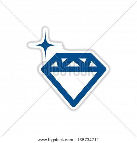 paper sticker icon on white background diamond