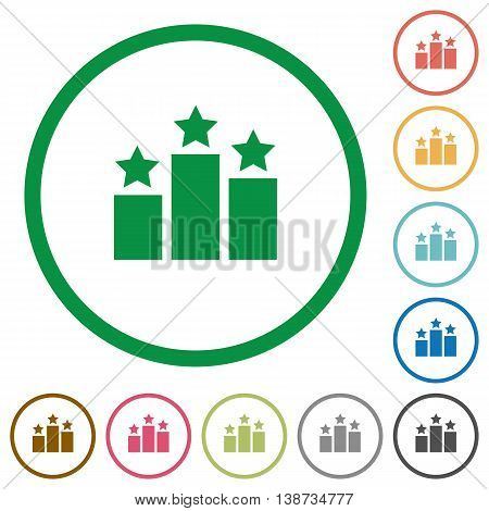 Set of Ranking color round outlined flat icons on white background