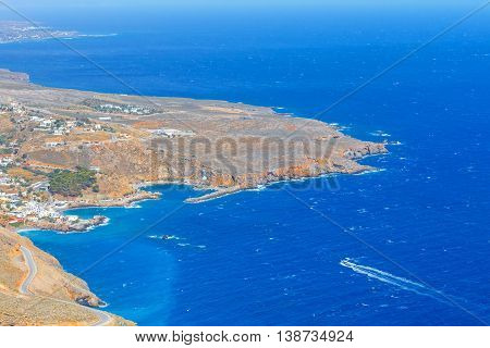 Aerial view of Chora Sfakion town on Crete Greece