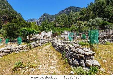 Displaced Village Samaria In Samaria Gorge In Central Crete, Greece