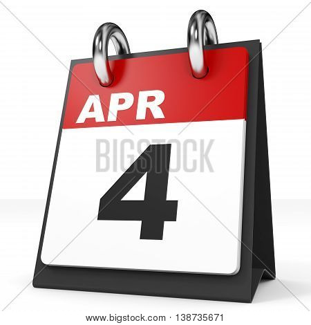Calendar On White Background. 4 April.