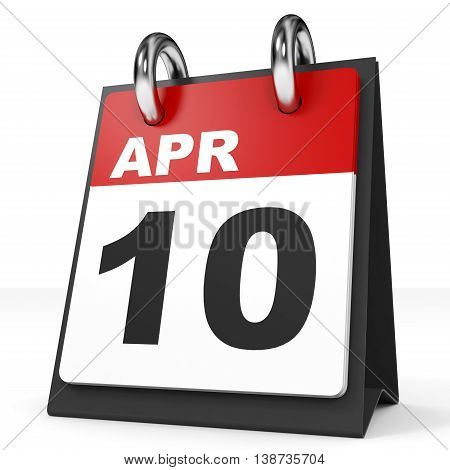 Calendar On White Background. 10 April.