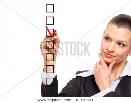 woman choosing one of three options