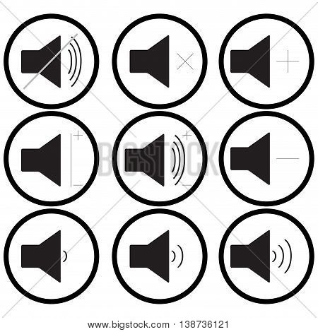 Set of sound icons monochrome. Audio and multimedia sound control volume. Vector illustration