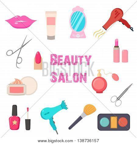 Beauty salon. Set of flat cartoon icons. New business. Vector illustration.